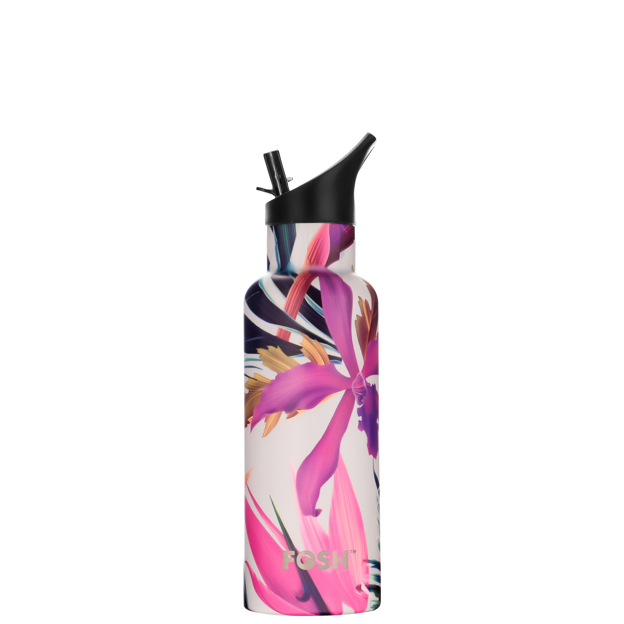 Stainless Steel Water Bottle Triple Insulated With Flip Lid Tropical