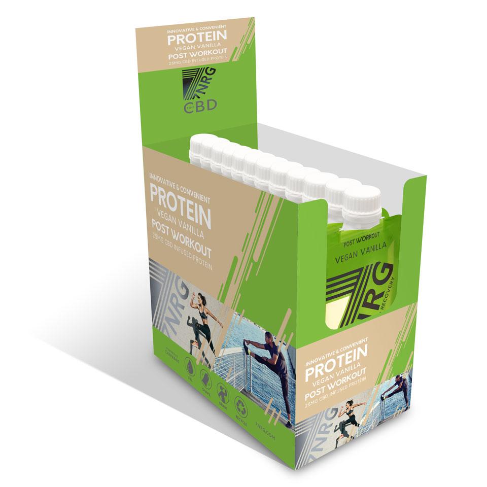 12 x 7NRG Post-Workout Vegan Vanilla 25mg CBD Protein Shake