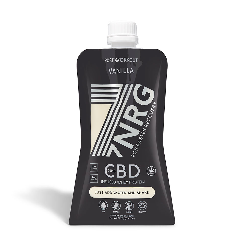 7NRG POST-WORKOUT VANILLA WHEY PROTEIN SHAKE 25MG CBD